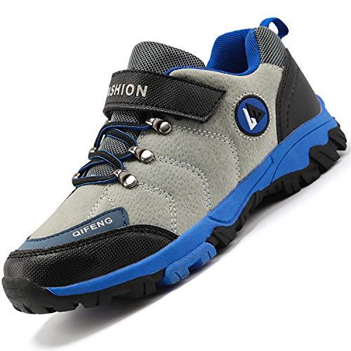 Unitysow Kinder Trekking- & Wanderschuhe Jungen Mid Wanderstiefel Mädchen Outdoor Trekking Schuhe rutschfeste Sneaker Gr.29-39,Grau-1 Gr.35