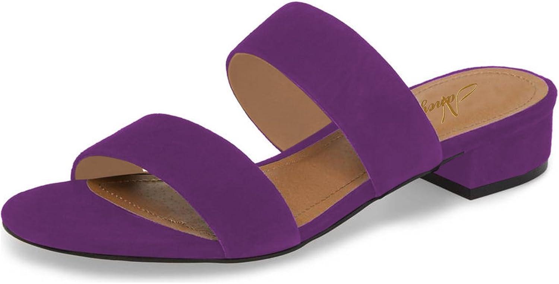 NJPU Women Open Toe Low Heel Sandals Faux Suede Block Mules Casual Slide shoes for Summer