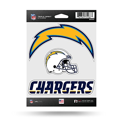 NFL Rico Industries Die Cut 3-Piece Triple Spirit Sticker Sheet, Los Angeles Chargers ,5 x 7-inches