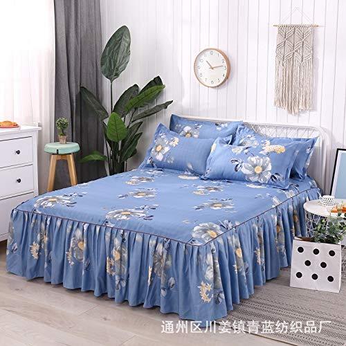 Hllhpc Bed cover verdikking wol katoen eenpersoons bed rok bed set drie of vier sets van Koreaanse prinses bed cover bed