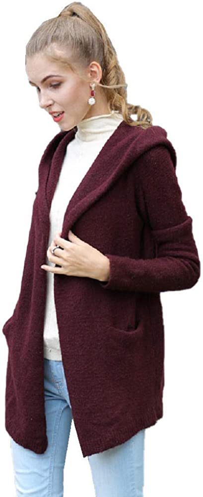Women's Knit Cardigan Casual Loose Commuting Jacket Simple Mid-Length Hooded Sweater