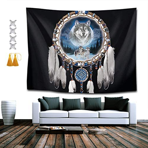 YongColer Hippie Hippy Wall Tapestry Native American Wolf Dream Catchers Large Mysterious Tapestry product image