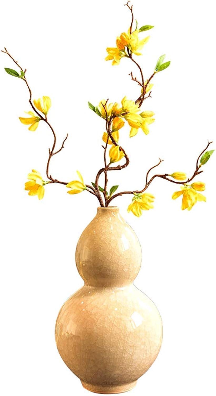 Vase LITING Morceau De Glace en Porcelaine Rétro Code ArrangeHommest De Fleurs en Céramique Maison Salon Porche Décoration Florale OrneHommests (Couleur   Ceramic-Beige, Taille   33cm9.5cm3.5cm)