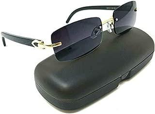 Dean Slim Rimless Rectangular Metal & Wood Aviator Sunglasses