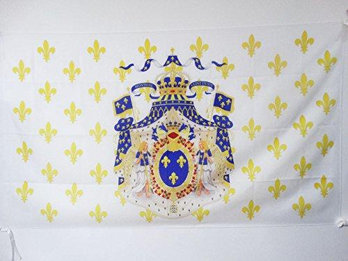 AZ FLAG Flagge KÖNIGREICH Frankreich GROßE Waffen 90x60cm - KÖNIGREICH DER Franzosen Fahne 60 x 90 cm Scheide für Mast - flaggen Top Qualität