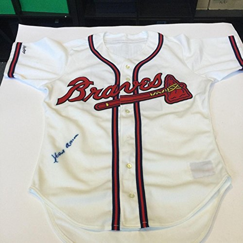 Beautiful Hank Aaron Signed Authentic Braves Game Model Jersey JSA COA - Autographed MLB Jerseys