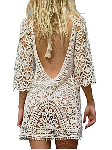 Paréo Femme Plage Mini Robes Grande Taille Tunique Pull Col V Kimono Bohême Mode Bikini Cover Up Crochet Blouse (One Size, Dos Nu Blanc)