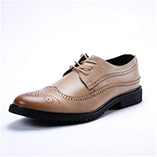 Brogue Carving Oxfords For Men Stately Shoes Lace Up Microfiber Leather Pointed Toe Wingtip Shiny Style Lug Sole Low Heel casual shoes (Color : Red, Size : 39 EU)