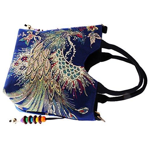 dailymall Vintage Sac à Main Bandoulière Ethnique Paon Brodé à La Main avec Décor Perles de Bois Parfait pour Un Usage Quotidien - Bleu Foncé, 33 x 27cm