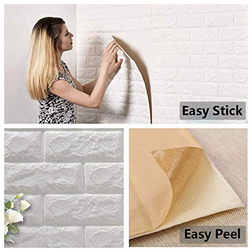 Arthome White Brick 3D Wall Panels Peel and Stick Wallpaper for Living Room Bedroom Background Wall Decoration (10 Pack, White 56.9 sq feet)