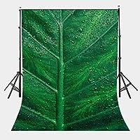 ZPC大きな緑の葉の背景の葉の写真の背景に5x7フィートの露のしずくシンプルな春のサファリパーティー地面の装飾アウトドアっぽいテーマ新生児のシャワーの恋人の結婚式の写真スタジオ