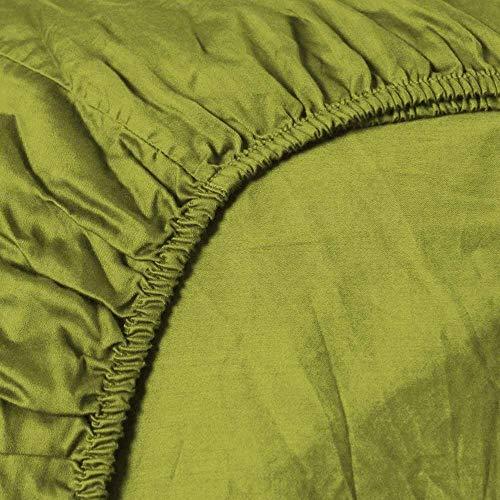 Heckett & Lane Katoenen percale hoeslaken voor Split-Topper I 180x200 x12 cm I Green Oasis Green