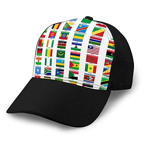 Gorras de béisbol, sombreros militares, sombreros de papá para el día del padre, regalo de Acción de Gracias, juego de banderas de todos los países africanos, sombrero ajustado brillante