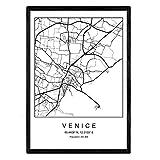 Nacnic Drucken Venedig Stadtplan nordischer Stil schwarz