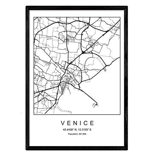 Nacnic Lámina Mapa de la Ciudad Venice Estilo nordico en Blanco y Negro. Poster tamaño A4 Sin Marco Impreso Papel 250 gr. Cuadros, láminas y Posters para Salon y Dormitorio