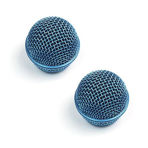 2x Replacement Mesh Microphone Grille For Shure SM58 565SD LC SV100 ,Blue