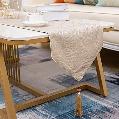 QXbecky Runner da tavolo filo d'oro piccolomodello aVmoderno semplice stile europeo leggero lusso tavolino da caffè runner decorazione tovaglia copertura portico240 cm