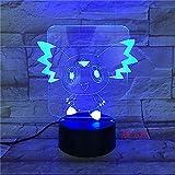 Luz de diapositiva3DLuz denocheLEDDigimon Action Pikachuif Turtle Tortoise Bird Fire Dragon Ball Bay Lámpara de mesa de regalo