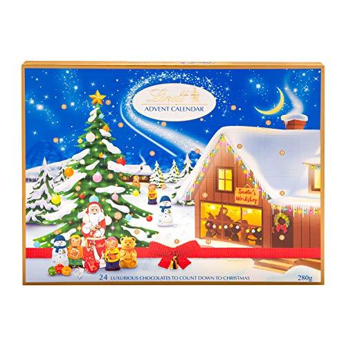 Lindt Milk Advent Calendar, 24 Assorted Milk Chocolate Surprises, Lindt Teddy, Santa, Lindor, Angle, Nougat, Elves, Mini Reindeer, Snowman, Icicle, Mini Milk Balls, 280 g