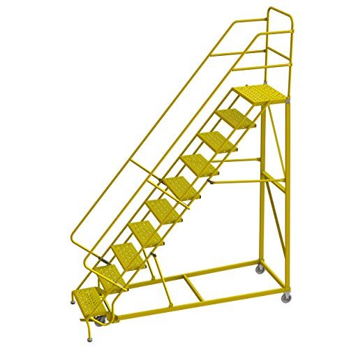 Tri-Arc KDEC110246-Y 10-Step Forward Descent Safety Angle Steel Rolling Industrial and Warehouse Ladder with Perforated Tread, 24' Wide Steps, Yellow Powder Coated Finish