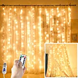 Curtain Lights String,9.8x9.8Ft 300 LED USB-Powered Hanging Fairy Lights for Bedroom Wall Christmas Decor, IP64 Waterproof & 8 Modes, Warm White