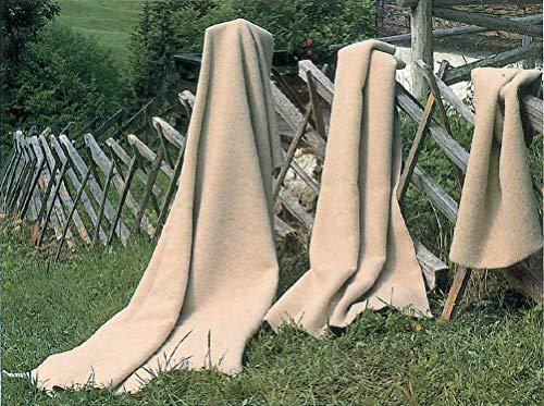 STEINBECK Decke Supralana aus 100% Schurwolle, Hell-Creme naturbelassen in Vier Größen, 75 x 100 cm
