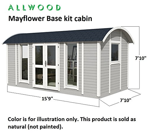 Allwood Mayflower Base   117 SQF Garden House, Cabin Kit 3 Unique style. Focal point of any garden. Total floor area 117 SQF Structures on wheels are except from permits in most states