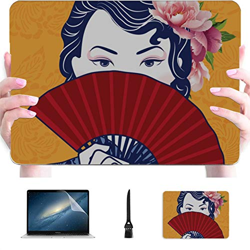 Mac 15 Inch Case Traditional Folding Fan Plastic Hard Shell Compatible Mac Air 13' Pro 13'/16' MacBook Pro A1708 Case Protective Cover for MacBook 2016-2020 Version