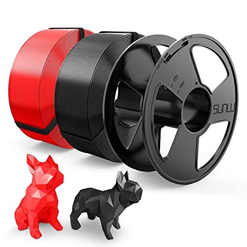 Filamento PLA 1.75mm, SUNLU PLA Filamento Impresora 3D, Reutilizable Spool, MasterSpool, Filamento Refill es Fácil de Reemplazar, PLA 2KG, 1kg Spool, 2 Paquete, Negro+Rojo
