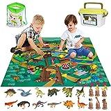 Dinosauri Giocattolo con Tappeto Gioco e Scatola di Immagazzinaggio per Bambini, Decorazioni per Torte 53Pcs