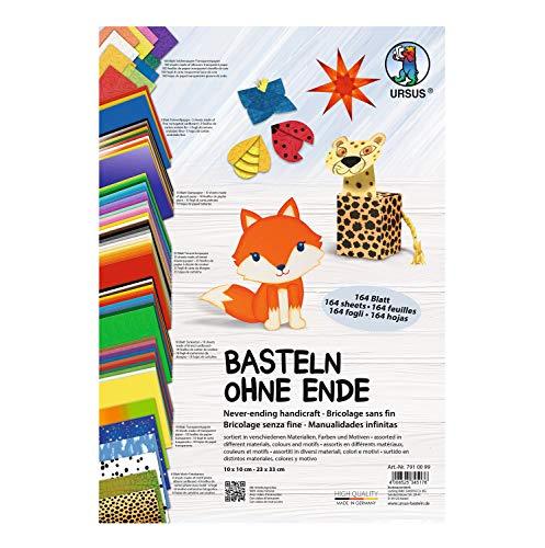 Ursus 7910099 - Basteln ohne Ende, 164 Blatt, sortiert in verschiedenen Materialien, Farben und Motiven