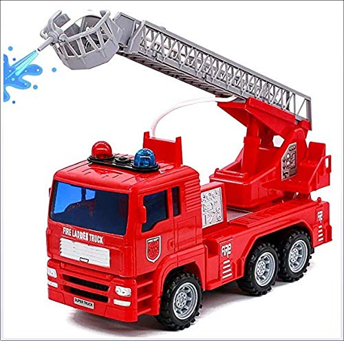 Creative Simulation Water Spray Brandweerwagen Met Real Splashing Water Chargeable Elektrische Wireless Can Lift Ladder Truck Flashing Lights Sirens Multifunctionele