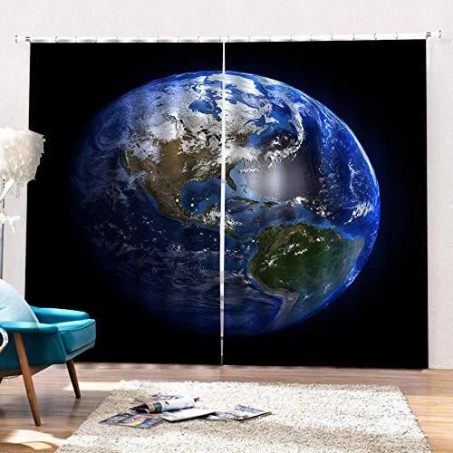 FAIEK Cortinas Opacas Cortina Reducir El Ruido - Tierra Azul Cósmica - Modernos Cortinas Adecuado para Oficina Empresa Balcon Salón Habitación Dormitorio - 140X245Cm * 2 Partes