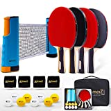 AQamerZ Complete Ping Pong Paddle Set - Portable Table Tennis Kit with Retractable Net, 4 x Ping Pong Paddles,...