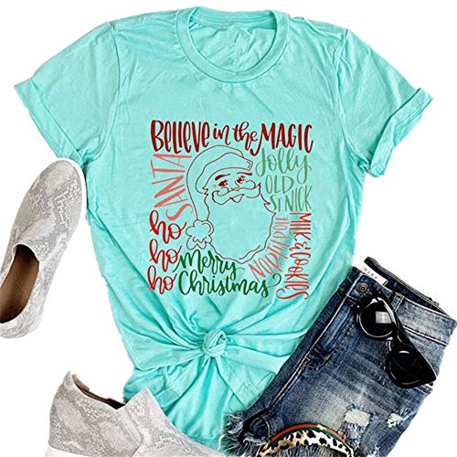 Karuina Women's Loose Round Neck T-Shirt Christmas Old Man Head Portrait Marry Letter Print Short-Sleeved Tops (M, Green)