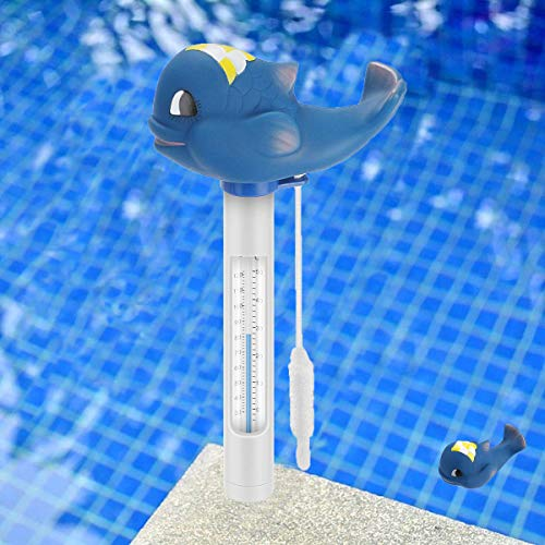 XUNKE Termómetro de Piscina, Temperatura de Agua termómetros con Cuerda, Termómetro de Dibujos Animados, para Todo Uso en Interiores, Exteriores Piscinas, spas y Acuarios (Blue Shark)