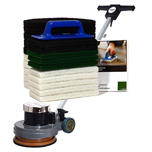 Floorboy XL 300 Universalset, Poliermaschine mit Treibteller, Superpads, einem praktischen Handpadhalter mit 10 Handpads, Anleitungen und Padkunde von Bioraum