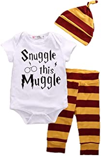 QYS Baby Boy Girl Ropa Set Snuggle Este Verano Muggle 3 PCS Trajes Romper Hat Pantalones Bib,Shortsleevesuit,80cm