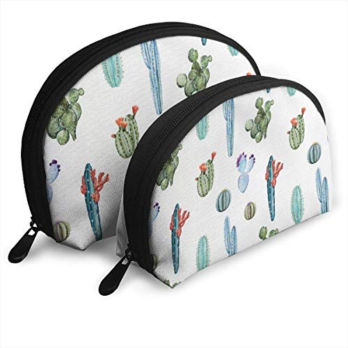 XCNGG Different Shapes of Cactus Shell Portable Bags 2Pcs Clutch Pouch One-Big And One-Small Cosmetic Makeup Bag