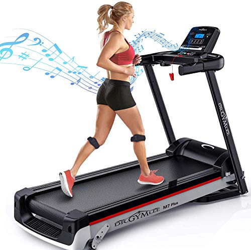 DR.GYMLEE Folding 3 Manual Incline 300LB Weight-Capacity Smart Treadmill, Easy Assembly Electric Motorized Running Machine for Home Use with LCD Screen/Heart Rate Monitor/Phone Cup Holder