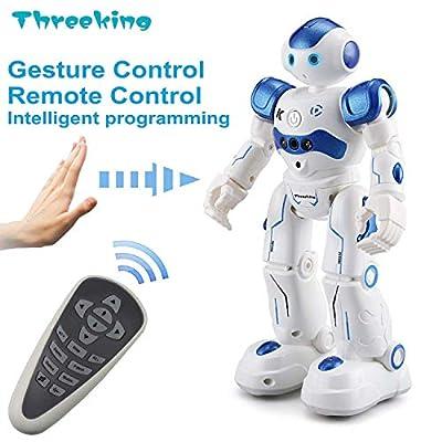 Threeking RC Robot Toy Robots for Kids Programmable Smart Sensing Robot for Children Birthday Gift Present for Kids Male Voice