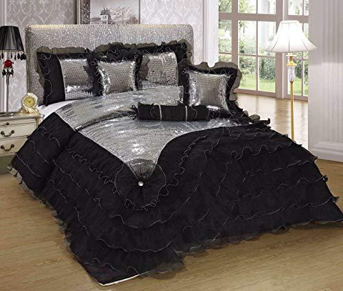 Tache Home Fashion 1622-K Elegant Fancy Luxury Sequined Silver Satin Ruffle Comforter Set, King, Black