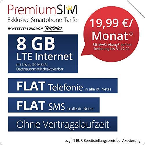 Handyvertrag PremiumSIM LTE XL - ohne Vertragslaufzeit (FLAT Internet 8 GB LTE mit max. 50 MBit/s mit deaktivierbarer Datenautomatik, FLAT Telefonie, FLAT SMS und EU-Ausland, 19,99 Euro/Monat)