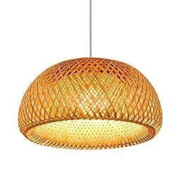 E27 Lampes suspendues tissées en bambou naturel vintage lumière hauteur réglable suspension rotin tissée Suspension…