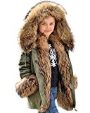Aofur Kids Unisex Coat Winter Black Jacket Faux Fur Parka Casual Hooded Warm Trench Outwear Children Clothes for Girls Boys (8-9 Years, Army Green)