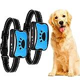 2 Piezas Collar de Perro de Nailon Collar vibratorio antiladridos Perros pequeños, medianos y Grandes Dispositivo automático de Entrenamiento de Sonido para Dejar de ladrar(Azul + Azul)