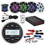 Marine Digital Media Bluetooth USB Receiver Bundle with 4X Kicker 6.5' Multi-Color LED Speakers W/Light Remote + 4-Channel Amplifier W/Install Kit + Enrock AUX to RCA Cable + 50Ft Wire