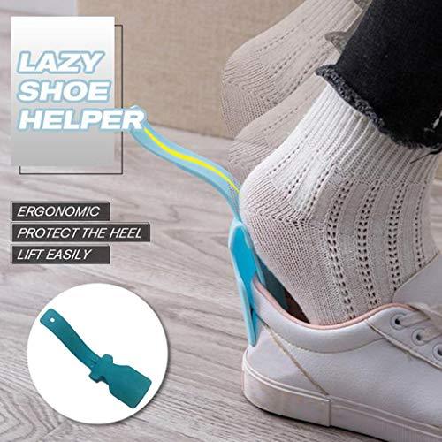 99native Schuhlöffel,Lazy Shoe Helper Tragbarer Schuhanzieher,Professional Kunststoff Schuhlöffel Löffelform Schuhlift Flexible Robust Slip, sehr stabile Ausführung (Blau)