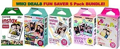Fujifilm Instax Mini Instant Film Bundle, Candy Pop, Stained Glass, Stripe, Shiny Star, Single Pack, 50 Sheets by Fujifilm