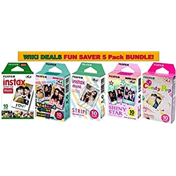 Fujifilm Instax Mini Instant Film Bundle, Candy Pop, Stained Glass, Stripe, Shiny Star, Single Pack, 50 Sheets